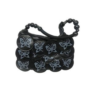 Handbags - Black Purse Pleather Butterfly Handbag NWT